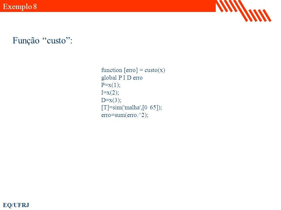 Função custo : Exemplo 8 function [erro] = custo(x) global P I D erro